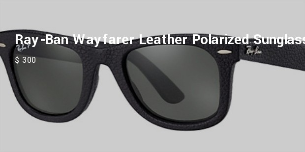 ray ban wayfarer leather polarized sunglasses