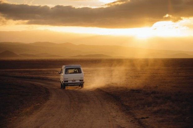 road sunset desert travelling