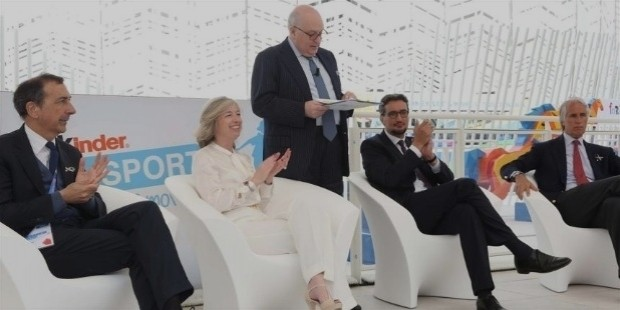 sala , the minister stefania giannini , giovanni ferrero , for the confectionery group , and the coni president giovanni malago today at the opening of the pavilion kinder