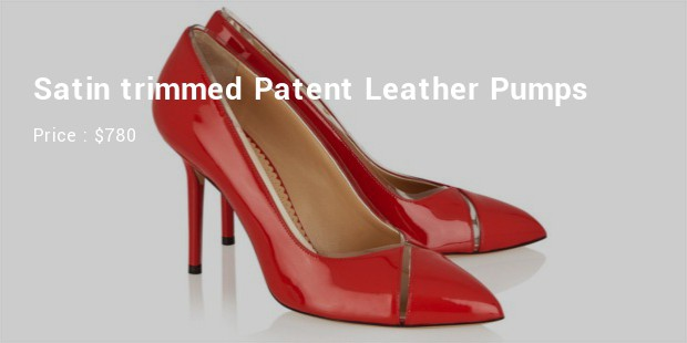 satin trimmed patent leather pumps