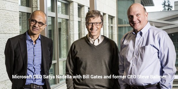 satya nadella with billgates
