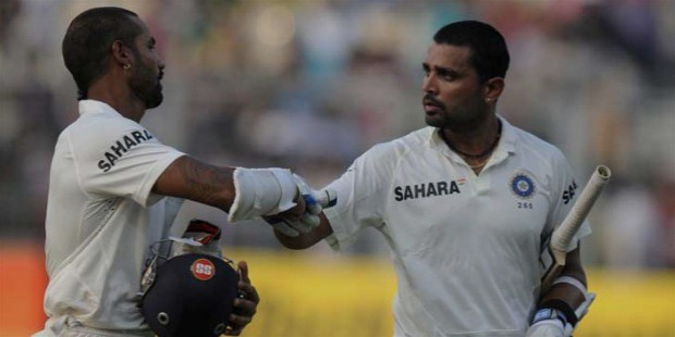 shikhar dhawan with murali vijay in irani cup match