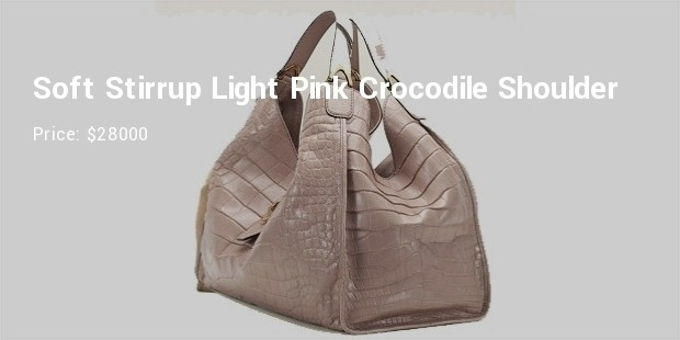 soft stirrup light pink crocodile shoulder bag