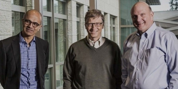 steave ballmer with satya nadellaand bill gates