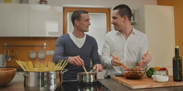 stock video 19587399 hd dolly gay couple having fun cooking together