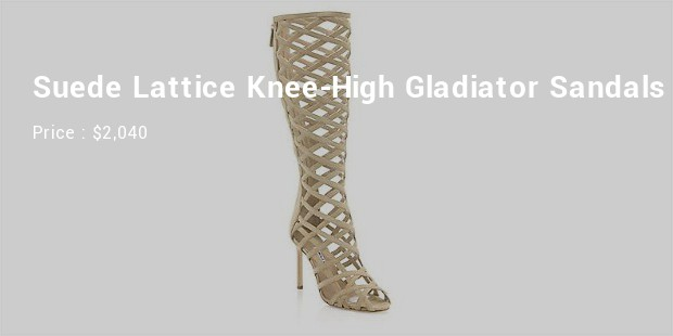 suede lattice knee high gladiator sandals