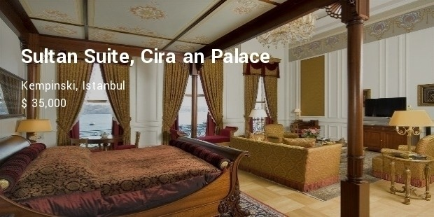sultan suite, ira an palace kempinski, istanbul   $35,000