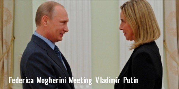 talian foreign minister federica mogherini being welcomed by russian president vladimir putin