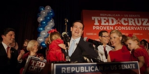 ted cruz celebrates on election night 2012
