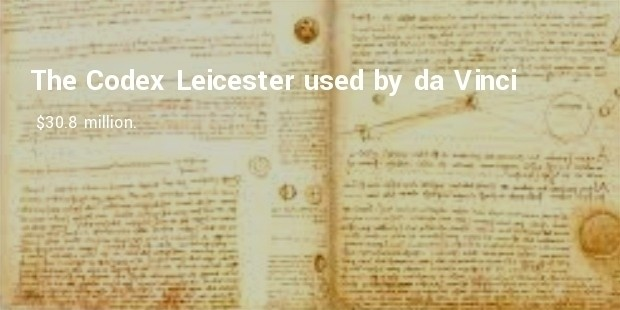 the codex leicester used by da vinci for $30