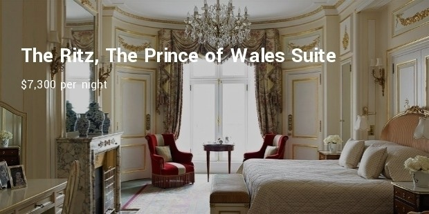 the ritz, the prince of wales suite  $7,300 per night
