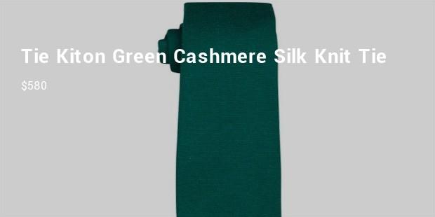 tiekiton green cashmeresilk knit tie