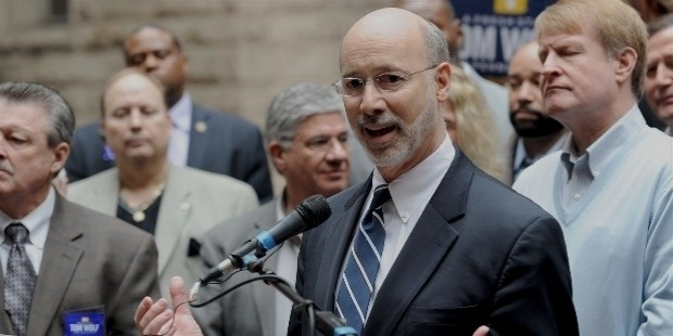 tom wolf speaks during an endorsement announcement