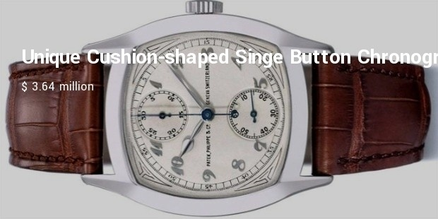 unique cushion shaped singe button chronograph in 18k white gold