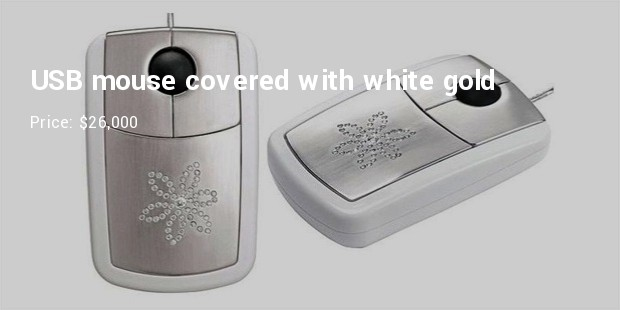 usb mouse covered with white gold