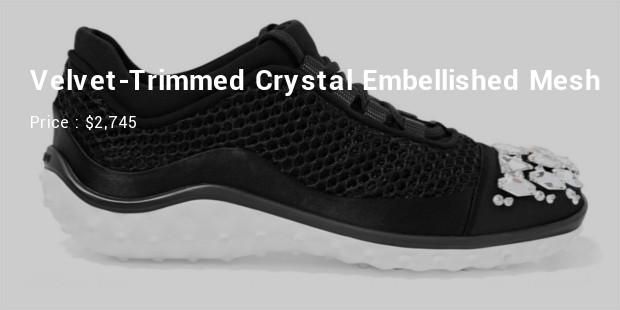 velvet trimmed crystal embellished mesh sneakers