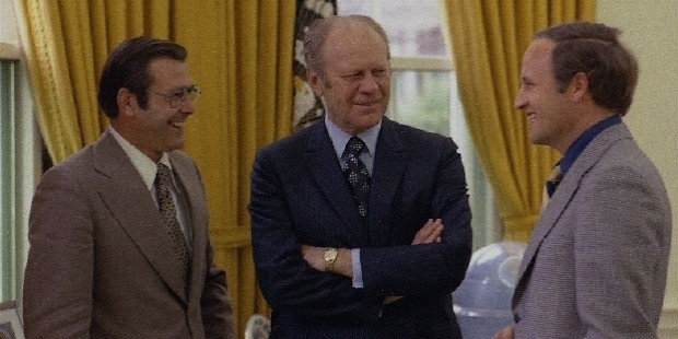 white house chief of staff donald rumsfeld  left  and his assistant cheney  right  meet with president gerald ford at the white house