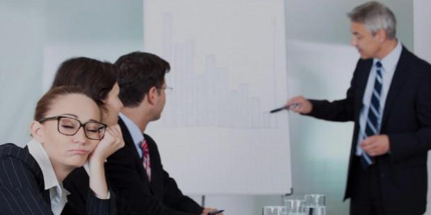 woman sleeping during business meeting