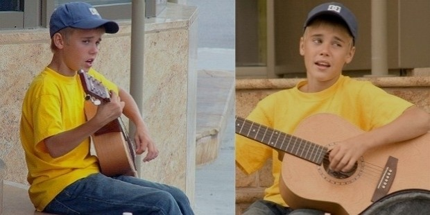 young justin bieber playing guitar