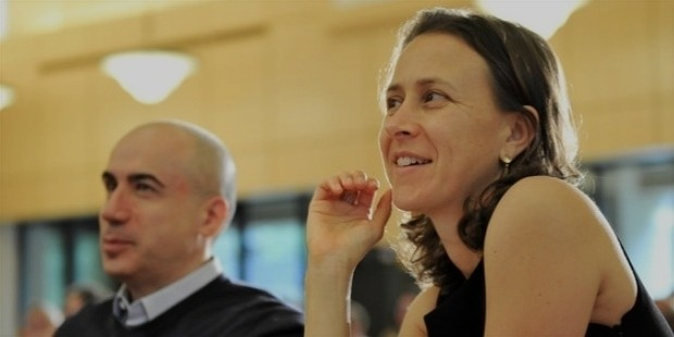 yuri miller and anne wojcicki listen to the panel of this year s prize