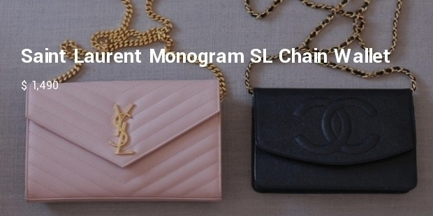 yves saint laurent monogram sl chain wallet