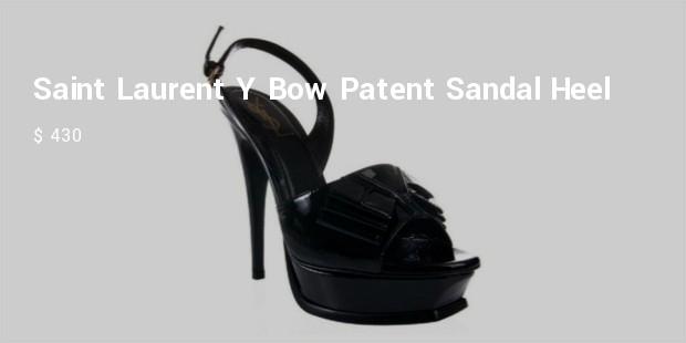 yves saint laurent y bow patent sandal heel