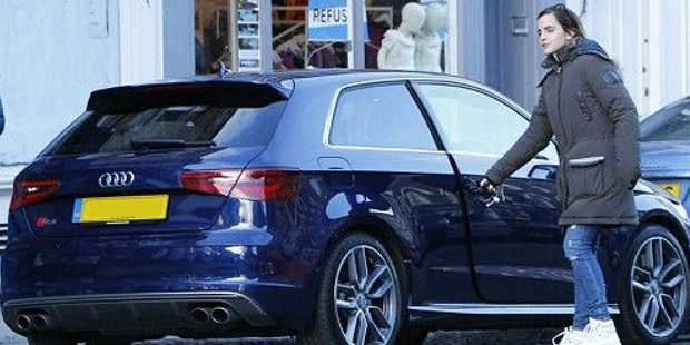 Emma Watson getting into her Audi Car