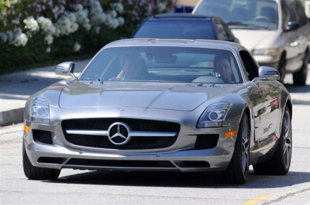 Mark Wahlberg in his Mercedes SLS
