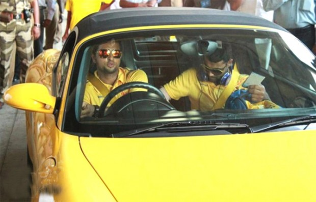Raina with Jadeja in his Porsche