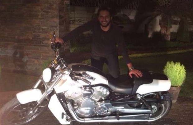 Afridi with His Harley Davidson V-Rod Bike