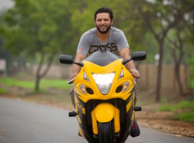 Afridi Riding on His Bike