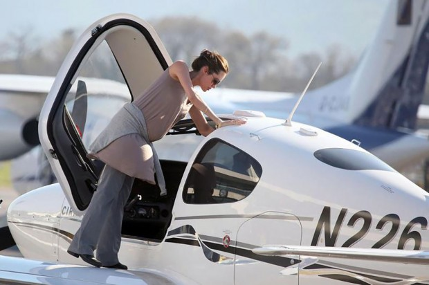 Angelina getting into the jet