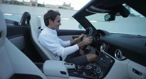 Roger Federer rides his Mercedes Benz SLS AMG Roadster