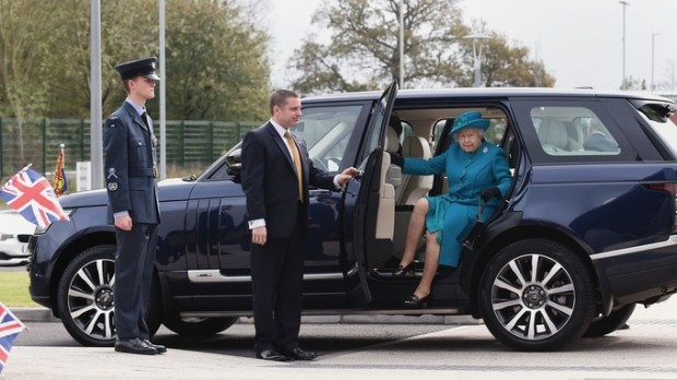 Queen Elizabeth II arrives at the new Jaguar Land Rover Engine Manufacturing Centre in Wolverhampton