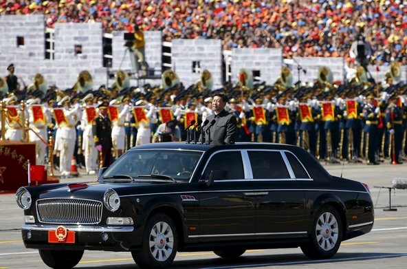 Xi Jinping Riding His Limousine.