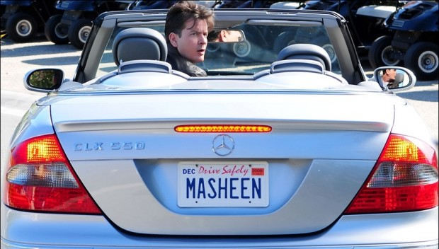 Charlie Sheen With his BMW CLK