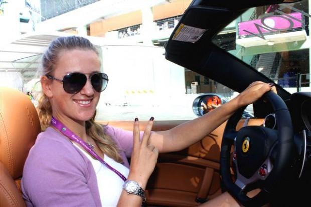 Victoria Azarenka Driving her own Ferari