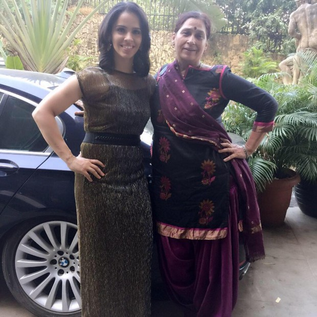 Saina with Her Mother Infront of Her BMW