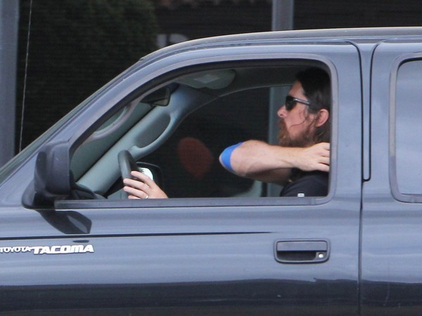 Christian Bale in His Toyota Tacoma Car