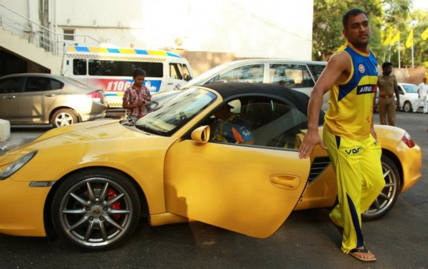 Dhoni Getting Out from His Porsche Boxster
