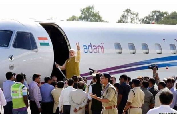 Narendra Modi boarding into Adani's Private Jet