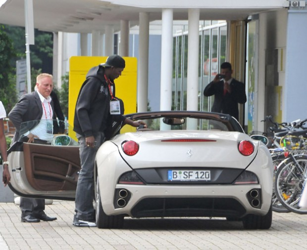 Bolt with his Ferrari