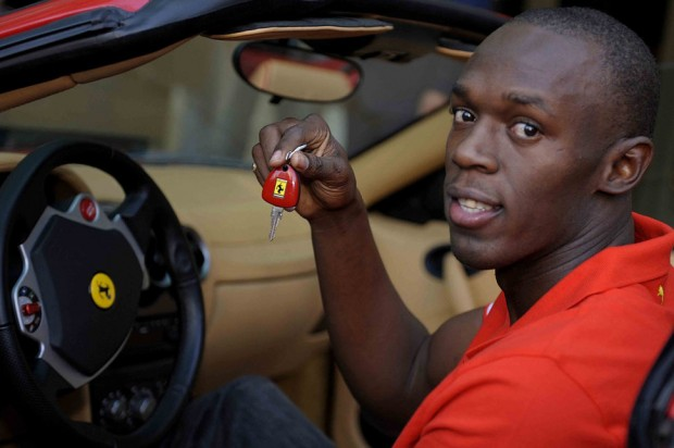 Photo Usain Bolt in Ferrari F430
