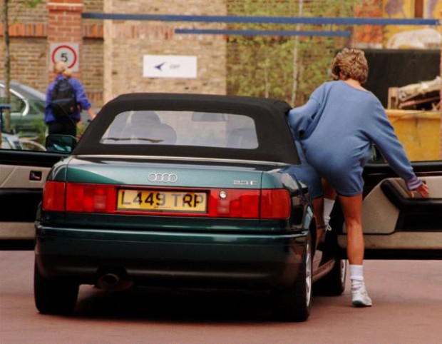 Princess Diana getting out from her Audi