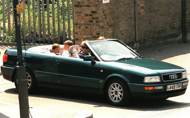 Princess Diana and her children in her Audi