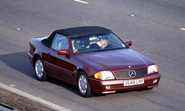 Princess Diana in her Mercedes