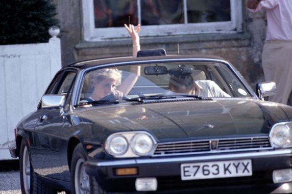 Princess Diana driving her 1987 Jaguar XJS Cabriolet car