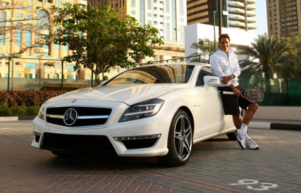 Federer with his Mercedes