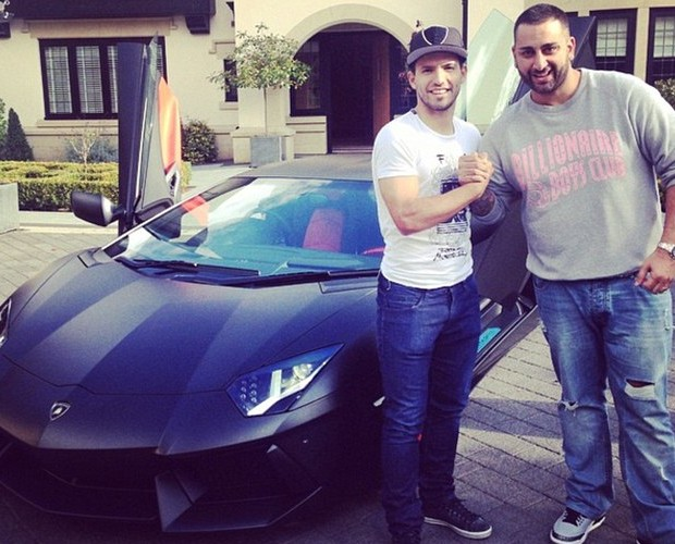 Sergio Aguero with Charalambous along with his Lamborgini