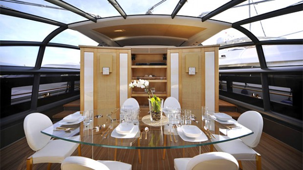Interior in the yacht